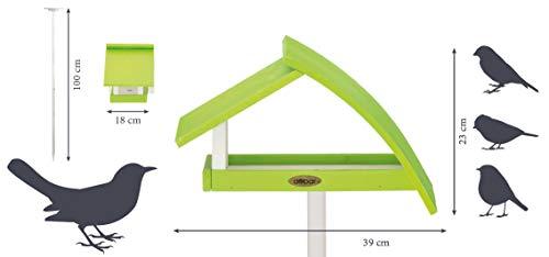 """Luxus-Vogelhaus 31014e Design Vogelhaus """"New Wave"""" aus Holz (Kiefer) für Garten, Balkon, mit Ständer, Schrägdach, Farbe: weiߟ-grün – Vogelhäuschen Vogel-Futterhaus - 2"""