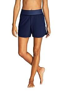 Lands' End Womens Comfort Waist 5in Swim Short Panty Deep Sea Navy Regular 18
