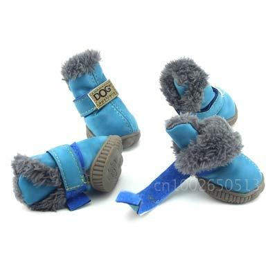 Lppanian Pfotenschutz 4 Teile/Satz Winter Haustier Hund Schuhe wasserdichte Warme Schneeschuhe Für Kleine Hunde Chihuahua Anti Slip Sneaker Haustiere Outdoor Supply Waren Größe 2 Blau