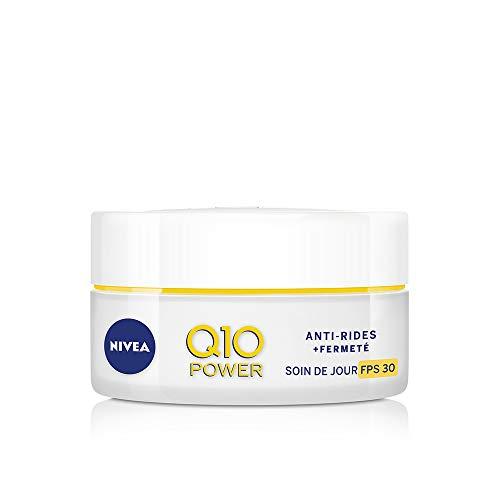 NIVEA Q10 Power Soin de Jour Anti-Rides +Fermeté FPS30 (1x50ml), crème anti-âge enrichie en Q10 & avec 10X plus de créatine, crème hydratante, soin visage femme