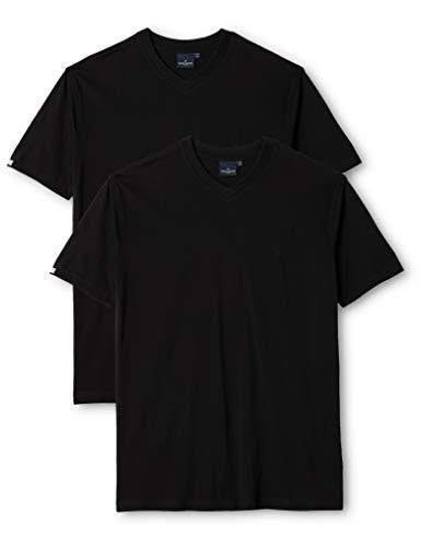 Daniel Hechter - T-Shirt Homme - doublepack -v-_black 10184 472 - Noir (black 90) - FR : Medium (Taille fabricant : Medium)
