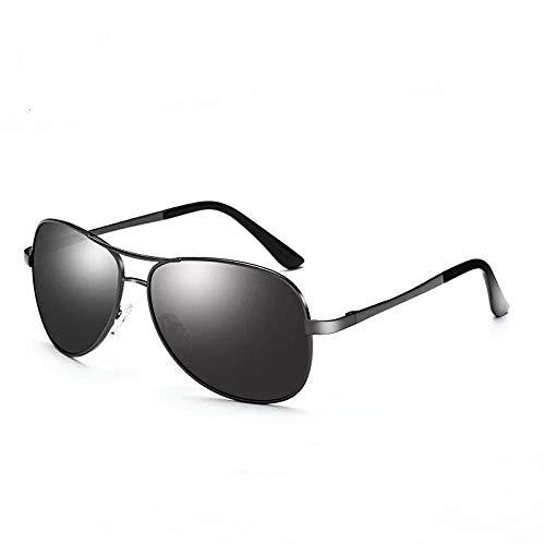 XXBFDT Al-Mg, metal rectangular - Gafas de sol de visión nocturna de polarización de carga-Película gris marco de armas