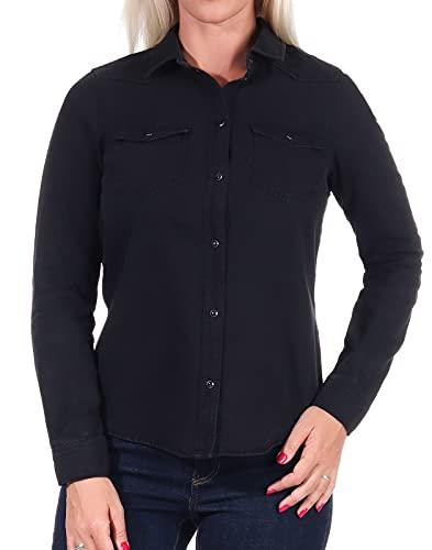 Vero Moda Vmmaria LS Dnm Slim Shirt Mix Ga Noos Ci Camisa, Schwarz, XL para Mujer