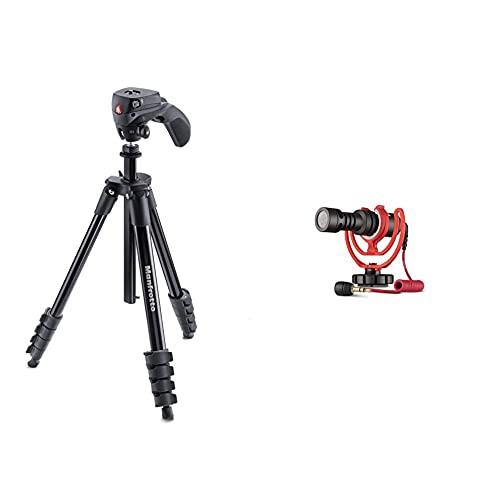 Manfrotto mkcompactacn-bk treppiede con borsa, testa ibrida per fotografia e video & rode videomicro - microfono direzionale compatto per fotocamere dslr, videocamere e registratori audio