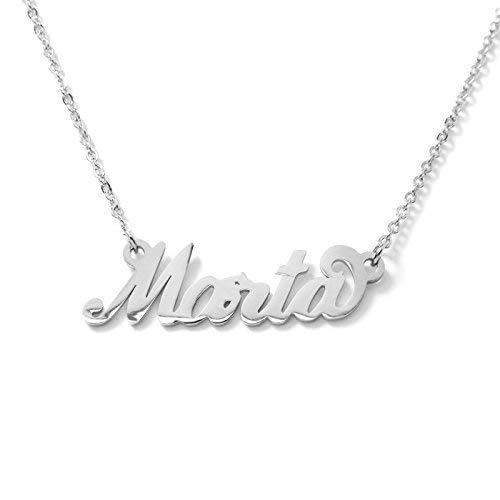 Collana Donna con Nome in Acciaio in corsivo Elegante Girocollo Regolabile Anallergico Color Argento Confezione Regalo Inclusa (Marta)