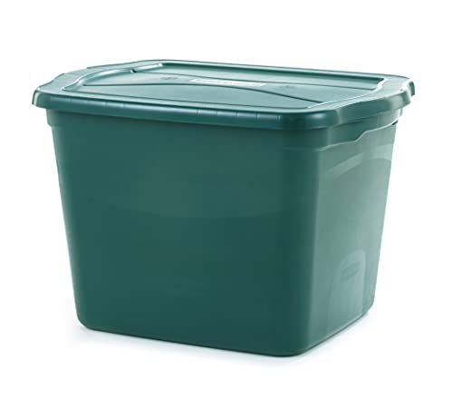 Rubbermaid ECOSense Totes 18 Gal Pack of 6 Durable, Reusable Set of Large Plastic Storage Bins, Made from 100% Recycled Materials, 18 Gallon-6 Pack, Hunter Green
