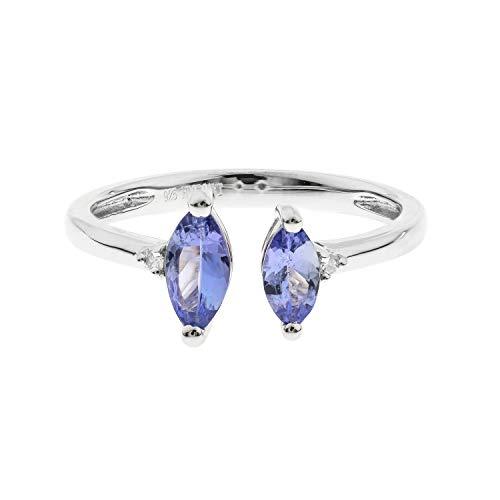 Gin & Grace 925 genuino Tanzanita diamante (I1, I2) (tamaño 7) Proponer la promesa anillo para las mujeres