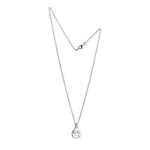 Nenalina Smiley Anhänger mit Zwei weißen Zirkonia Augen und Halskette in 925 Sterling Silber, Damen-Kette für Frauen mit Anhänger, Halsketten Länge 45cm, 244059-019