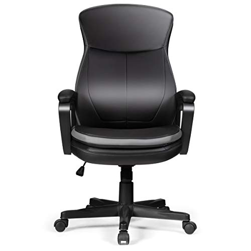 GIANTEX Chefsessel mit Rollen, Drehstuhl Bürostuhl Höhenverstellbar, 360° drehbarer Freizeitstuhl aus PU-Leder, Arbeitsstuhl mit Rückenlehne & Armlehne für Büro, Arbeitszimmer