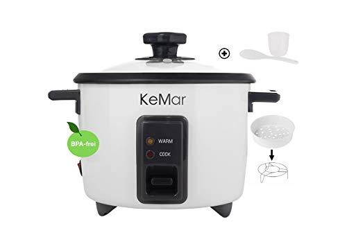 KeMar Kitchenware KRC-110 Reiskocher, Dampfgarer, Warmhaltefunktion, Dämpfeinsatz, BPA-frei, 1,4 Liter, 500W, Weiß