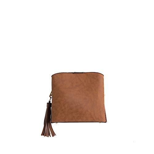 PACO MARTINEZ | Bolso Bandolera combinada Borla Color marrón | 21x23x9 | Pequeño
