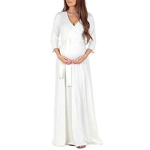 Preisvergleich Produktbild WWricotta Pregnant Woman Fashion Wrap Maternity Dress Adjustable Belt Multi-Function Dress(Weiß, L)