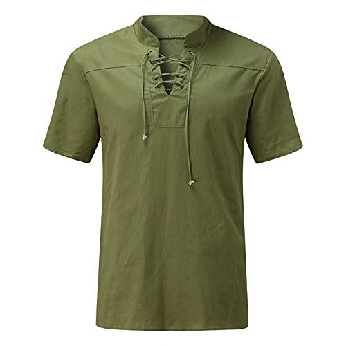 Dasongff Camisa para hombre con aspecto de lino, camisa informal Henley, manga corta, corte regular, sin cuello, camisa ligera de verano, camiseta de manga corta, cómoda para el tiempo libre