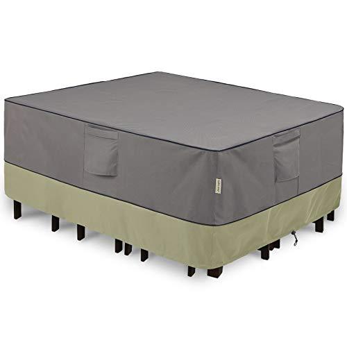 KylinLucky Cubiertas de muebles de patio impermeables para mesa y sillas, juego de mesa al aire libre rectangular – se adapta a hasta 128 x 81 cm (largo x ancho x alto)