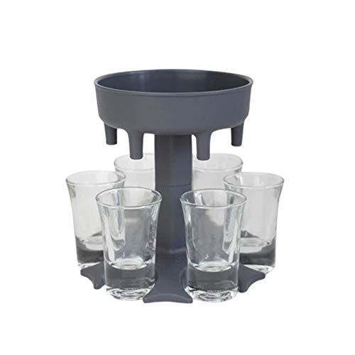 FeiliandaJJ Schnapsverteiler mit 6 Tassen - Schnapsschirm für 6 Personen - Party Trinkspiel Zubehör -Ausgießer Trichter - Schnaps Verteiler für Likör, Scotch, Bourbon, Wodka, Cocktail (Grau)