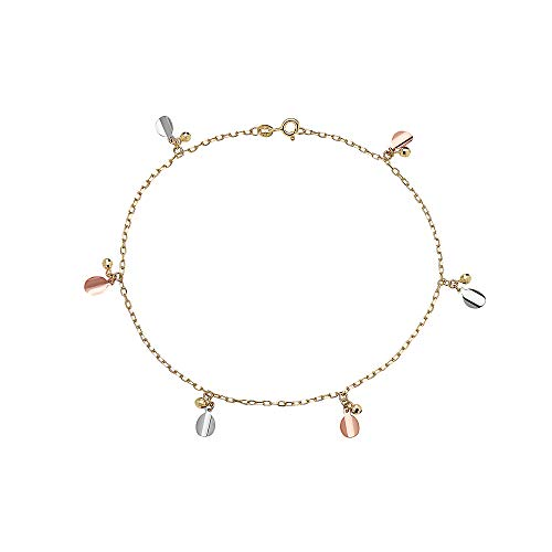Pori Jewelers 14K Solid Gold Tricolor Dangling Charm Anklets - 10