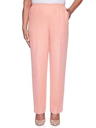 Alfred Dunner Women's Plus Size Classic FIT Short Length Pant, Peach, 24W