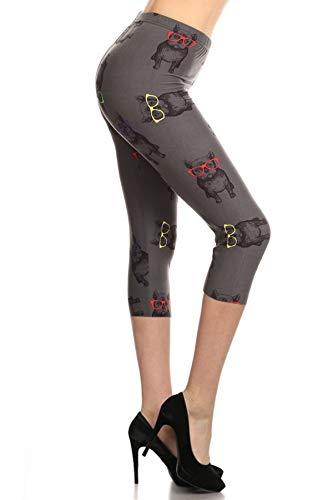 R718-CA-OS Hipster Frenchie Capri Print Leggings, One Size