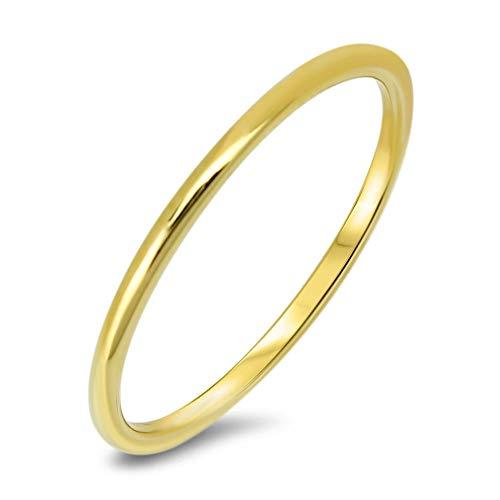 Ring Gold 375er Gelbgold 9Kt Bandring Damenring Vorsteckring Goldring Gr 48-60 50 (15,9mm Ø)