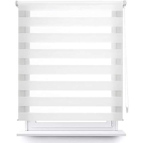 MERCURY TEXTIL Estor Enrollable de Doble Capa, Noche y Día, translúcido y oscurecido (140 x 180 cm, Blanco)