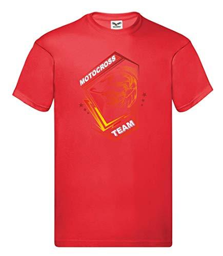 Druckerlebnis24 Camiseta con Escudo del Equipo de Motocross, Unisex, para niños y niñas Rojo 104 cm