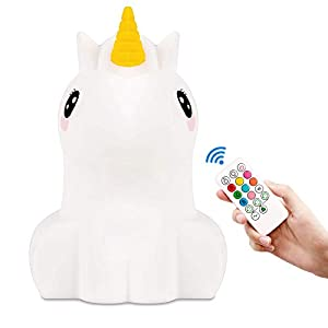 LED Unicorn Night Light for Kids Cute Animal Silicone Baby Night Lights with Touch Sensor – Portable and Rechargeable Infant or Toddler Color Changing Bright Nightlight and Baby Gifts(Multicolor)