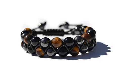 World crmy Pulseras Shamballa Dobles de Piedras semipreciosas Naturales para Hombre Mujer Yoga Kundalini gemoterapia 7 Chakras Reiki y meditación (Ágata Negra Ojo de Tigre y hematita)