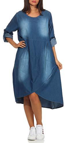 malito dames Jeansjurk | stijlvol vrijetijdskleed | Maxi jurk met 3/4 mouwen 9961 (lichtblauw)