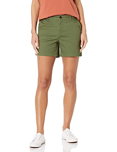 Amazon Essentials Women's 5 Inch Inseam Chino Short (Available in Straight and Curvy Fits), Olive, 14
