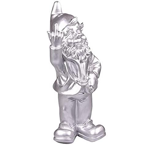 Statuetta Nano da Giardino con Dito Medio alzato - per Giardini - Argentato - 15 x 12 x 32 cm