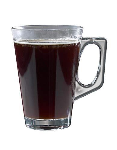Juego de 4 tazas de café de policarbonato transparente irrompible con asa para zumos, infusiones, bebidas calientes, café latte, té, moca, copas de vino mulled Ideal para niños. (260 ml). Apilable