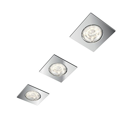 Philips 5900711P0 myBathroom LED Einbauspot Dreaminess 3er Set, 3x 500 lm, Aluminium, 4,5 W, Integriert, chrom, 7,5 x 7,5 x 5 cm
