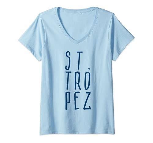 Damen St.-Tropez Mittelmeer Südfrankreich Hotel Reise Yacht Urlaub T-Shirt mit V-Ausschnitt