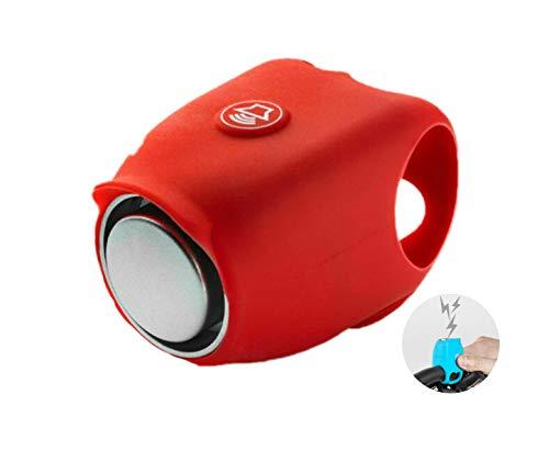 PCSW Elektrische Fahrradklingel Fahrradhupe mit 120 dB   aus Silikon inklusive eingebauten Knopfzellen   Viele Verschiedene Modis   Fahrradring Fahrrad Lenker Alarm Klingel (Rot)
