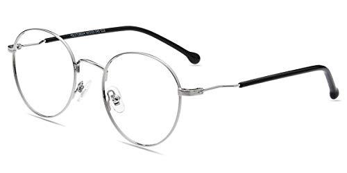 Firmoo Blaulichtblockierende Brille ohne Sehstärke, Anti Blaulicht Computer Brille Blaulichtfilter Brille für Damen Herren, Blendfreie Kratzfeste Gläser, Runde Metallbrille Augenschutzbrille Silver