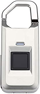 【MidasTouch】 Fingerprint Padlock Biometric Lock Silver Includes Spare iKey
