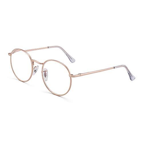 JM Retro Round Reading Glasses Women Spring Hinge Metal Frame Blue Light...