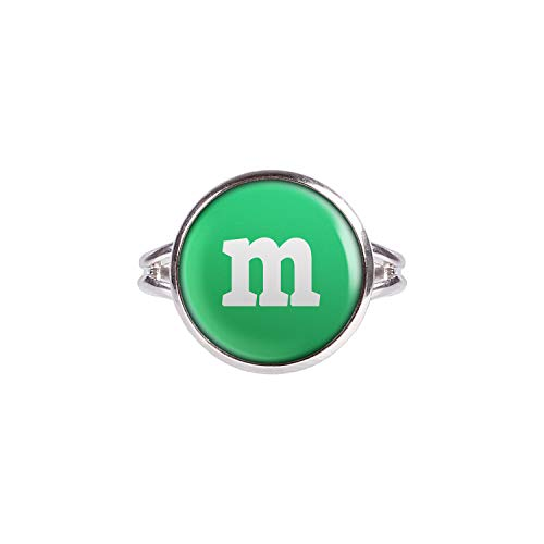 Mylery Anillo con Motivo Letra m Verde Plata Diferentes tamaños