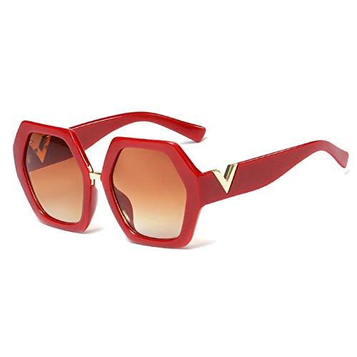 IJEWALRY Frauen Sonnenbrillen Brillen,Weiße Sechseckige Sonnenbrille Frauen Große Polygon Sommermode Sonnenbrille Für Damen Übergroße Schwarz Uv400 Rot Mit Braun