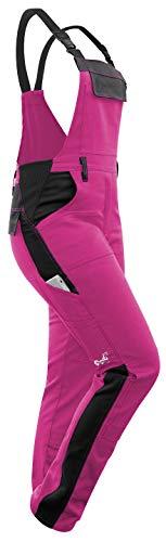 strongAnt - Damen Arbeitshose Arbeits-Latzhose Stretch für Frauen mit Kniepolstertaschen. Baumwolle Kombihose Pink-Schwarz 40
