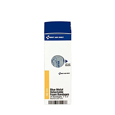 """Pac-Kit by First Aid Only FAE-3110 SmartCompliance Refill 1"""" x 3"""" Blue Metal Detectable Foam Bandages, 25 Count by Pac-Kit Acme United"""