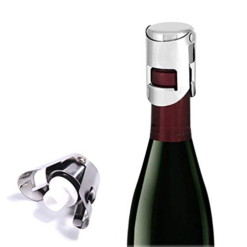 Cokritsm 2 Pack Champagne Stopper Stainless Steel Professional Bottle Sealer for Champagne, Cava, Prosecco Sparkling Wine, Champagne Saver Plug Silver