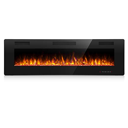 Antarctic Star 50 Inch Electric Fireplace in-Wall Recessed and Wall Mounted, Fireplace Heater and Linear Fireplace with Multicolor Flame, Timer, 750/1500W Control by Touch Panel & Remote