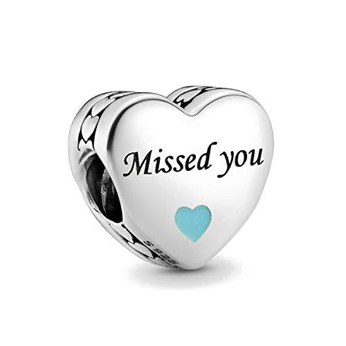 PINSHUO Nuevo corazón en Forma de Madrina te echó de Menos, mi héroe, Amor, Cuentas DIY, encantos Originales, Pulsera de Plata 925, joyería DIY para Mujer B705