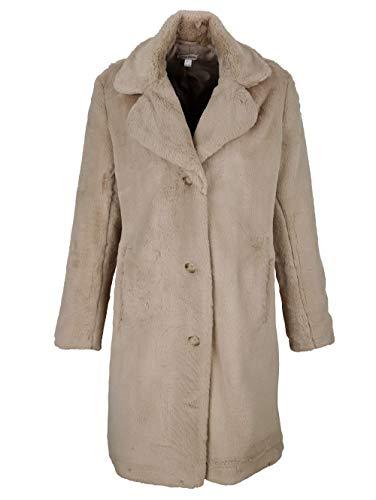 Alba Moda Damen Mantel mit Reverskragen in Taupe aus wunderbar weichem Webpelz