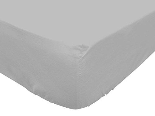 Soleil d'ocre Sábana Bajera de algodón para Cuna 60 x 120 cm Gris