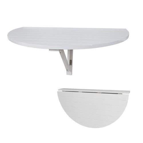 Halbrunder Tisch aus Kiefernholz, zur Wandmontage, halbrunder Klapptisch für Küche und Esszimmer, platzsparend weiß