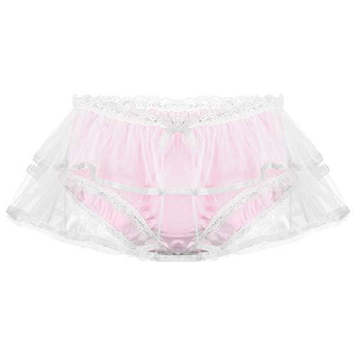 JEATHA sous-vêtements Culottes Homme Sissy Satin Lingerie de Nuit Dentelle Slip Transparent Maille Taille Moyenne avec Ceinture Elastique M L XL Rose XL