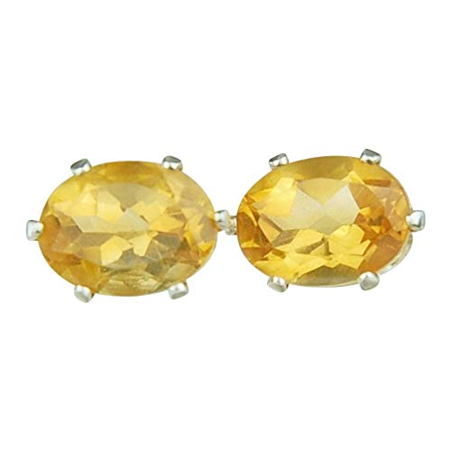 Citrine Gemstone Stud Earrings Sterling Outlet ☆ Free Shipping Ranking TOP17 8x6mm Silver