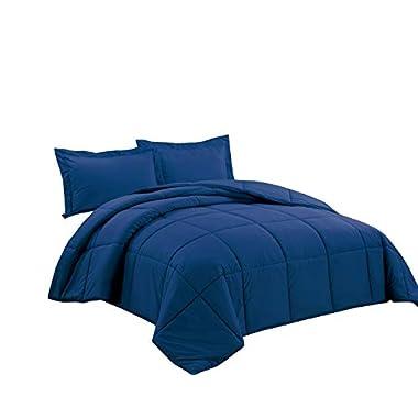 Chezmoi Collection 3-piece Down Alternative Comforter Set (Queen, Navy)